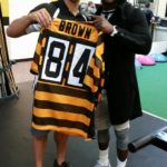 Antonio Brown gifts Dr. Lyneil a jersey